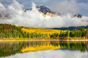 Jasper National Park in the Rocky Mountains of Canada. Patricia Lake. Yellow and orange autumn grass and trees are reflected in cold water