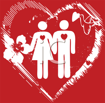 Royalty Free Clipart Image of a Couple on a Red Background With a Flower and a Bird