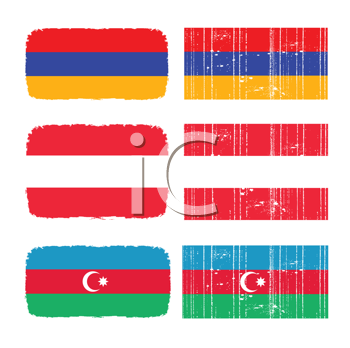 Royalty Free Clipart Image of Flags of Armenia, Austria and Azerbaijan