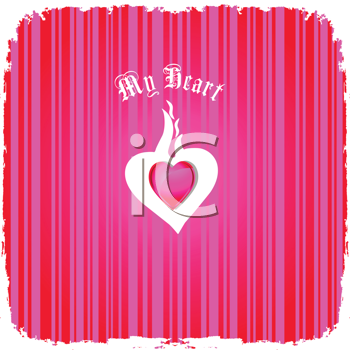 Royalty Free Clipart Image of a Valentine Message With a Heart in the Centre