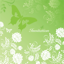flowers and butterflie on green card