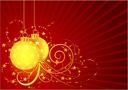 Royalty Free Clipart Image of Christmas Ornaments on a Red Striped Background
