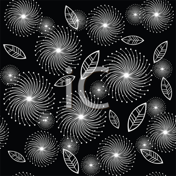 Retro background with white stylized flowers and leaves