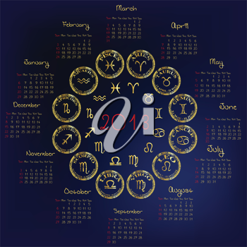 2013 Calendar with astrology signs