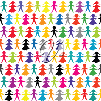 Seamless background with colored children hand in hand