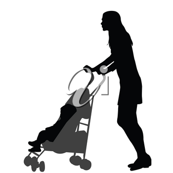 Mother walking while pushing a stroller. Silhouette on white background