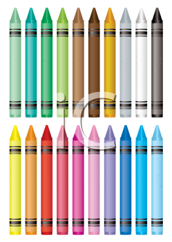 Royalty Free Clipart Image of Wax Crayons