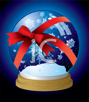 Royalty Free Clipart Image of a Snow Globe in a Red Ribbon