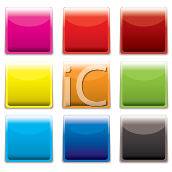 Royalty Free Clipart Image of Square Buttons