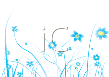 Royalty Free Clipart Image of a White Background With Flowers on the Bottom