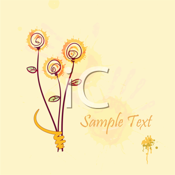 Royalty Free Clipart Image of a Background With Space for Text and a Flower Design