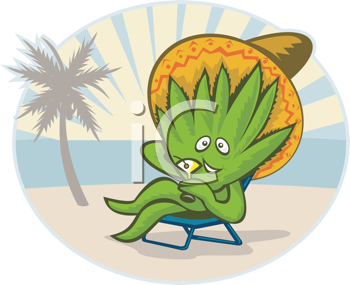 Royalty Free Clipart Image of an Agave Wearing a Sombrero and Drinking a Martini