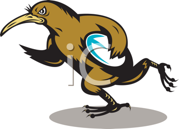 Royalty Free Clipart Image of a Running Kiwi Rugby Player