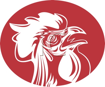 Royalty Free Clipart Image of a Rooster's Head