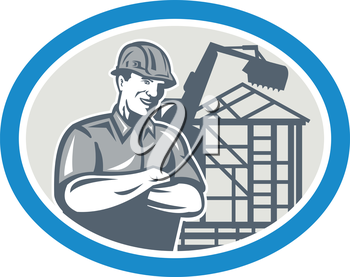 Illustration of a builder construction worker with digger mechanical excavator and building frames in background set inside oval done in retro style .