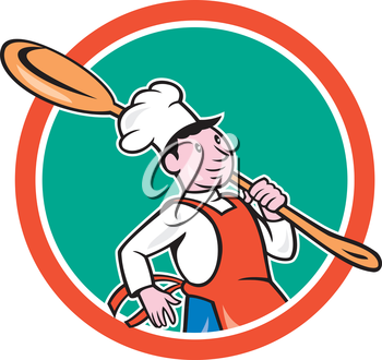 Illustration of a chef cook marching holding spoon over shoulder set inside circle on isolated background done in cartoon style.