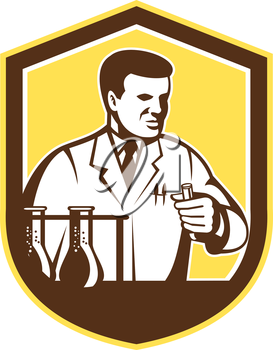Illustration of scientist laboratory researcher chemist holding test tube with flasks set inside shield crest on isolated background done in retro style.