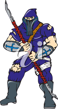 Cartoon style illustration of a masked ninja warrior superhero holding a spear viewed from front on isolated white background.
