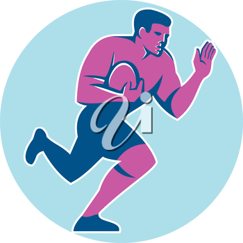 Illustration of rugby union player with ball fending running set inside circle on isolated background done in retro style.