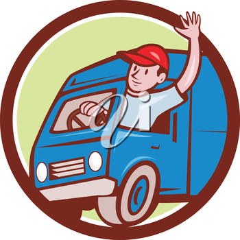 Illustration of a delivery man wearing hat waving driving delivery van truck set inside circle on isolated background done in cartoon style.