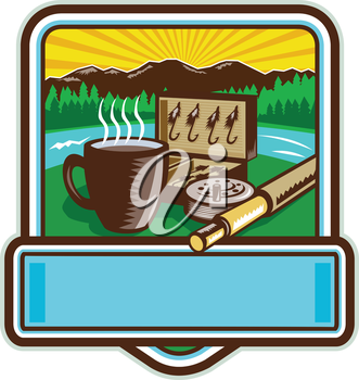 Illustration of a mug, fly tackle bait box, fly rod and reel set inside crest shield with mountain river trees and sunburst in the background done in retro woodcut style.
