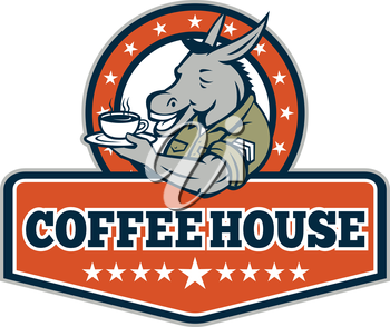 Illustration of a donkey army sergeant smiling holding cup and saucer drinking coffee viewed from the side set inside circle with stars and the word text Coffee House inside shield crest done in carto
