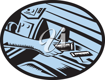 Illustration showing hand reaching in the glove box for an energy bar set inside oval shape done in retro woodcut style.