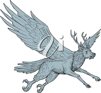 Drawing sketch style illustration of a Peryton, a Medieval European mythical creature with head, forelegs and antlers of a full-grown stag with the wings plumage and hindquarters of a bird flying view