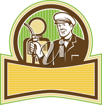Retro style illustration of a filling station attendant, gas station attendant or gas jockey, a full-service filling station worker holding a petrol nozzle with pump in background.