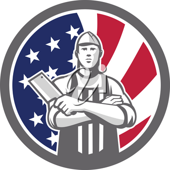Icon retro style illustration of American butcher arms crossed holding a meat cleaver viewed from front  with United States of America USA star spangled banner or stars and stripes flag inside circle.