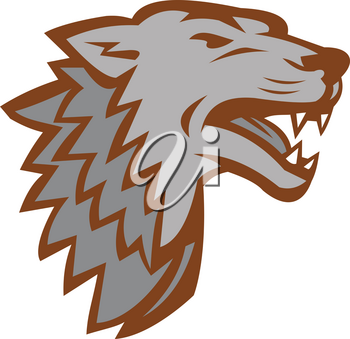 Icon style illustration of a Barking growling angry Gray Wolf viewed from side on isolated background.