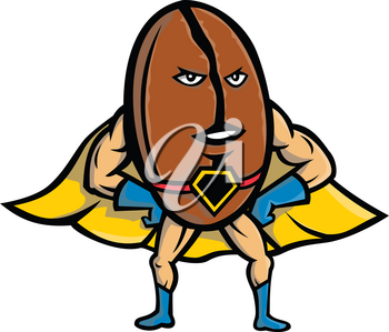 Mascot icon illustration of a Coffee bean superhero wearing a cape with hands and arms akimbo viewed from front  on isolated background in retro style.