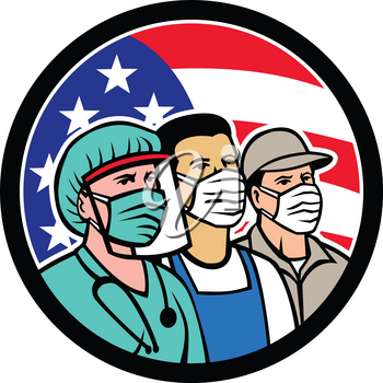 Mascot icon illustration of American nurse, doctor, grocery, pharmacist, EMT, delivery, trucker, food, front line, hospice worker wearing mask with USA stars and stripes flag in circle in retro style.
