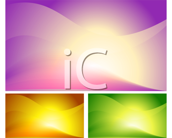 Royalty Free Clipart Image of Three Sunrise Backgrounds in Various Colours