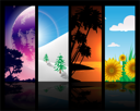 Royalty Free Clipart Image of a Four Season Background