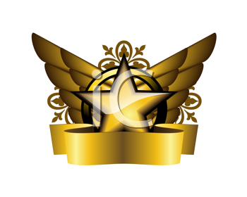 Royalty Free Clipart Image of a Star and Wings Coat of Arms With Ribbon