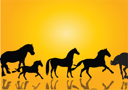 Royalty Free Clipart Image of Horse Silhouettes on Yellow