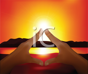 Royalty Free Clipart Image of a Sun Setting Landscape With Hands