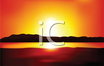 Royalty Free Clipart Image of a Sun Setting Landscape