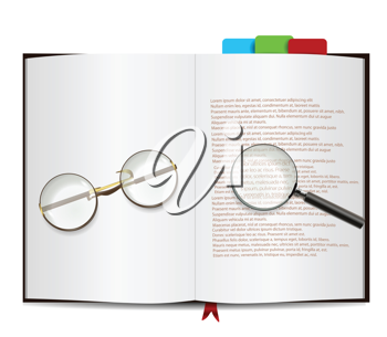 Book Isolated on white with glasses and magnifying glass