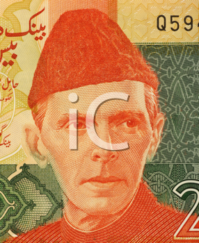 Royalty Free Photo of Mohammed Ali Jinnah (1876-1948) on 20 Rupees 2007 Banknote from Pakistan. Lawyer, politician, statesman  and founder of Pakistan.