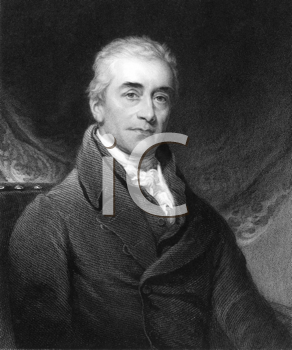 Royalty Free Photo of Samuel Romilly (1757-1818) on engraving from the 1800s. British legal reformer. Engraved by R.Woodman from an enamel after a picture by T.Lawrence and published in London by Char