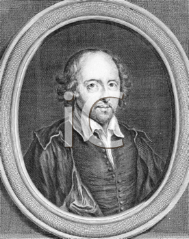 Royalty Free Photo of William Shakespeare (1564-1616) on engraving from the 1700s. English poet and playwright, widely regarded as the greatest writer in the English language. Drawn by B.Arlaud and en