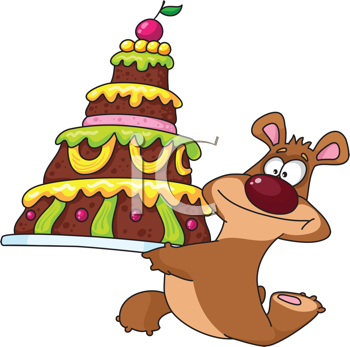 Royalty Free Clipart Image of a Bear and a Cake