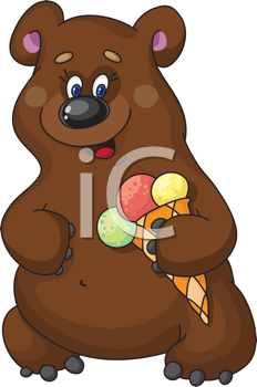 Royalty Free Clipart Image of a Bear With a Cone