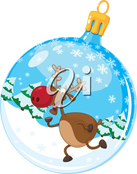 illustration of a christmas ball with deer