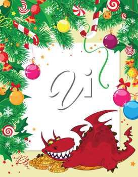 illustration of a Christmas card and dragon with money