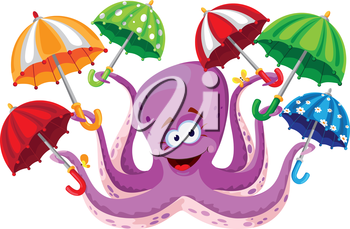 illustration of a octopus with umbrella