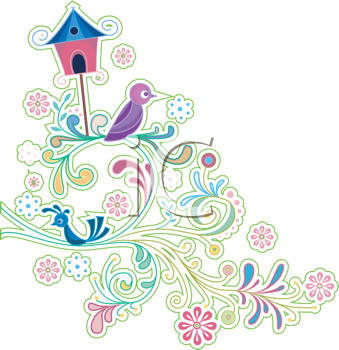 Royalty Free Clipart Image of a Frame With Vines, Birds and a Birdhouse
