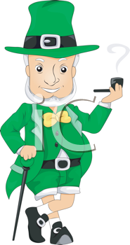Royalty Free Clipart Image of a Leprechaun Smoking a Pipe